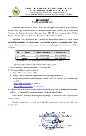 Reminder Pengumuman BPK RI : Pelatihan Registrasi Akuntan Publik untuk Partner dan Pemeriksa pada Kantor Akuntan Publik